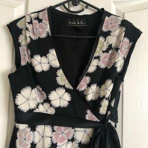 Silky Nicole Miller floral wrap shirt